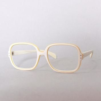 60s RAY-BAN White Chandra FRAMES / 1960s Men's Mod Off-White & Gold Trim Sunglasses Gl