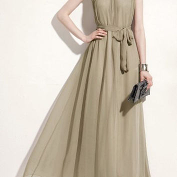 Gold Sleeveless Chiffon Maxi Dress