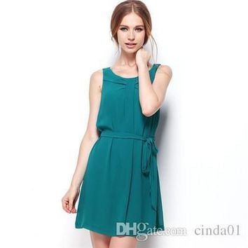 Lady Clothes Summer Pure Color Skirt Knee Length With Belt Women Fashionable Sexy Chiffon Sleeveless Dress