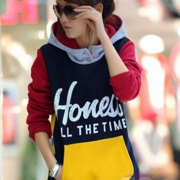Women Hooded Full Sleeve Color Block Fleece Front Pocket Winter Pullover Hoodies  D311B-707