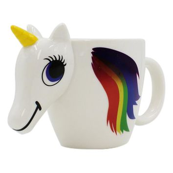 Cartoon Unicorn Mug Unicorn Discoloration Cup 3D Ceramic Coffee Cup Girl Creative Cute Gift color changing Magical Horse Cups