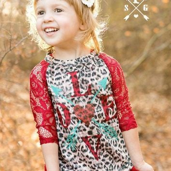 Southern Grace Kid's Valentine's Day  LOVE Arrows & Heart on Leopard Shirt