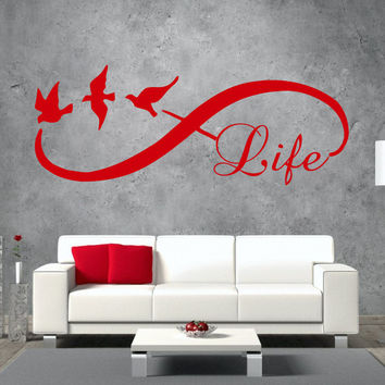 Life Infinity Wall Decals Sticker Bird Love Symbol Vinyl Home Decor Bedroom SM38