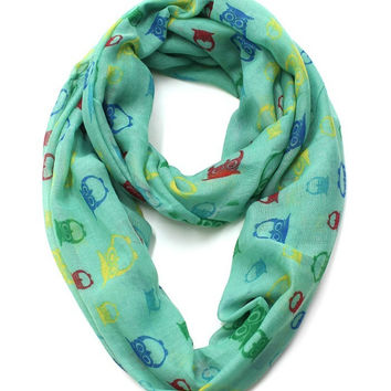 Mint Infinity Scarf with Brightly Colored Owls