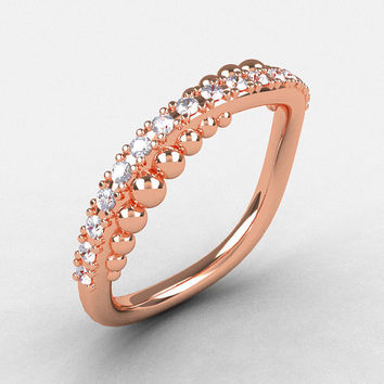 18K Rose Gold Cubic Zirconia Pearl and Vine Wedding Band, Engagement Ring NN115-18KRGCZ