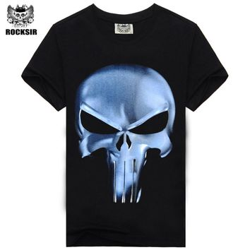 Rocksir T Shirt Men Summer punisher Skull Head Grim 3D Printing 100% Cotton t shirts for Men Casual Short Sleeves Brand Clothing