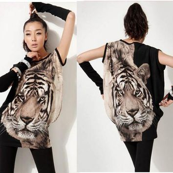 Tiger Printed T-shirt Long Tops Women Summer Tees Eyes Popular Fashion Animal Pattern New