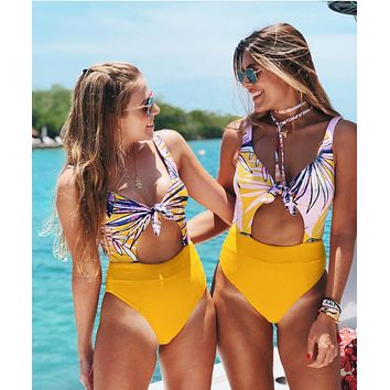 Yellow Leaf Print One Piece Swimsuit High Waisted Bathing Suits