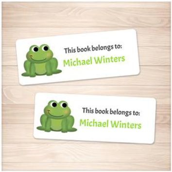 Cute Green Frog Bookplate Labels for Name Labeling Books - Printable