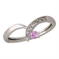 Buy.com - Pink Sapphire and Diamond Twist Ring 14k White Gold
