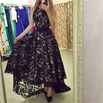 Women Summer Formal Party  Long Maxi Dress  Lace Floral Gown Dresses White Black L4