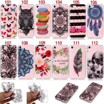Feather Mandala Slim TPU Rubber Gel Case Cover For iPhone 5 5S 6 6S 7 8 Plus X