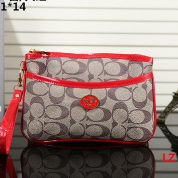 """Coach"" Women Casual Purse Fashion Print Zip Clutch Wristlet Bag Cosmetic Bag Wallet"