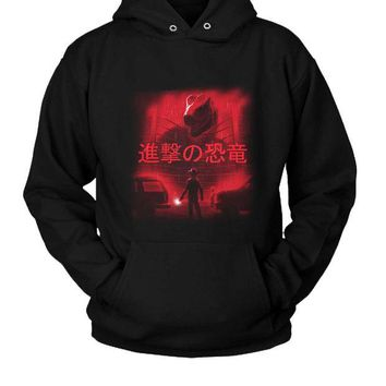 DCCK7H3 Attack On Dinosaur Hoodie Two Sided