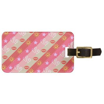 Stars Hearts Lips Pattern Luggage Tag