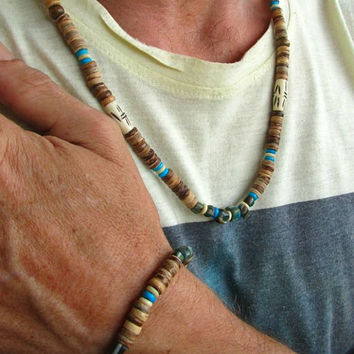 Mens Surfer Necklace & Bracelet / Coconut, Bone and Glass Beaded Mala Style Hippie Surfer Boho Festival Necklace and Bracelet