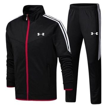 ONETOW Under Armour pantsuit letter printing fashion suit pullover Black Two piece Tagre?