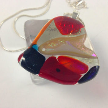 Fused Dichroic Glass Necklace Red Heart Valentine  359