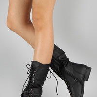 Round Toe Lace Up Military Mid Calf Boot