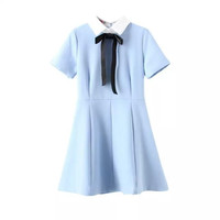 Sky Blue Short-Sleeve A-Line Bow Collared Dress