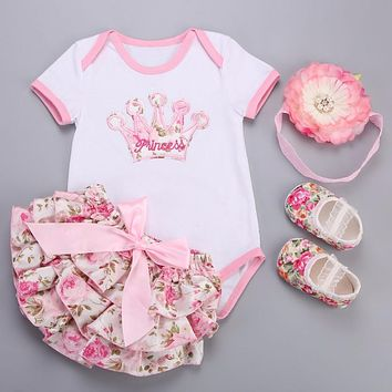 Big Flower Headband Crown Floral Baby Girl Clothes Short Dress Shoes 4 pcs set;Newborn Baby Costume Ensemble Bebe Fille 6-12M