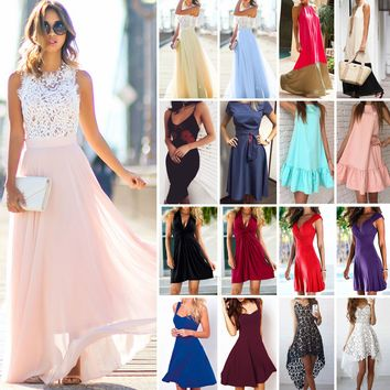 Women Long Maxi Dress Cocktail Evening Party Prom Ball Wedding Summer Beach Boho   1