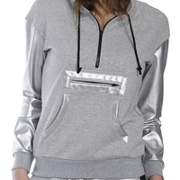 X By Gottex Women's Metallic Sleeve Pullover Hoodie (Small, Heather Grey)