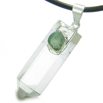 Astrological Gemini Amulet Crystal Point Green Quartz Pendant Necklace