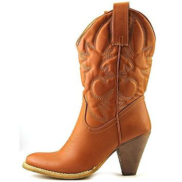 Spite Womens Saddleup Faux Leather Detail Stitching Cowboy, Western Boots