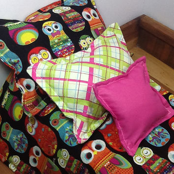 "Doll bedding for 18"" dolls, owl russian nesting doll, 4 piece set, colorful comforter set, 3 pillows, little girl gift, reversible bedding"
