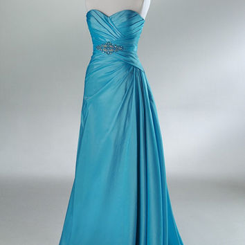 2011 Style Ball Gown Strapless Beading Sleeveless Floor-length Taffeta Prom Dresses / Evening Dresses