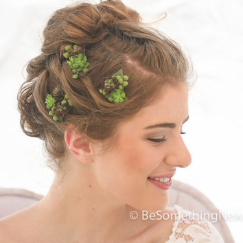 Tiny Succulent Bobby Pin Set, Wedding Hair Bobby Pins, Artificial succulent hair accessories, Bohemian Rustic Wedding Hair Accessory