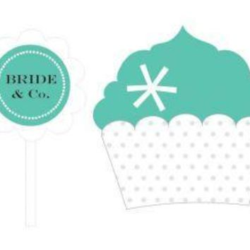 Bride & Co Cupcake Wrappers & Cupcake Toppers (Set of 24)