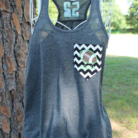 Custom Personalized Football Mom Racerback Loose Tank