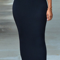 Solid Black High-waist Bodycon Maxi Skirt