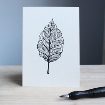 hand drawn postcard BEECH 10,5 x 14,8 cm // ink leaf illustration - card with black drawing