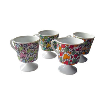 Set of Four Vintage Mid Century Chintz Floral Pedestal Footed Coffee Mugs / Vintage Kitchenware / Vintage Coffee Cups / 1970s