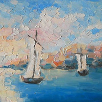 """Sketch """"Boats in the sea.Calm"""", Oil Painting, Impasto, Boats, Sea Painting, Ships at Sea, Ships Picture, Italy picture, Boats in Italy, Gift"""