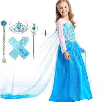 Girl Elsa Spring Summer Clothes Dresses Party Princess Anna Vestidos Children Fancy Costume Christmas Holloween Cos Long Dress