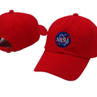 Red NASA Embroidered Adjustable Cotton Baseball Golf Sports Cap Hat