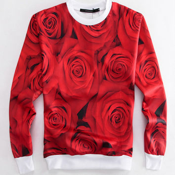 Red Rose Emoji Print Leisure Sweater