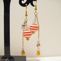 Orange stripe earrings, orange dangle earrings, beaded earrings, beaded dangle earrings, cute dangle earrings, kawaii dangle earrings.