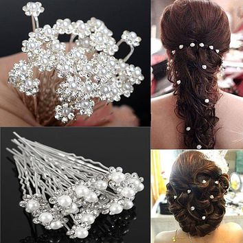20pcs Bridal Wedding Jewelry Flower Hairpin Silver Crystal Hair Pins Rhinestone Clips White Pearl Hair Jewelry Accessories