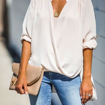 Got You Covered Drape Front Layered Blouse - Champagne - FINAL SALE