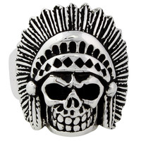 Sterling Silver Apache Curse Tribal Chief Skull Ring
