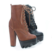 Vive58 Round Toe Lace Up Lug Sole Platform High Heel Combat Ankle Boots