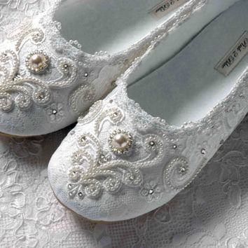Wedding Shoes  Rachel Bridal Ballet Flat Vintage Lace by Pink2Blue