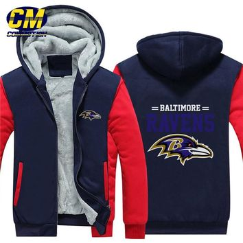 NFL American football winter thicken plus velvet zipper coat hooded sweatshirt casual jacket Baltimore Ravens