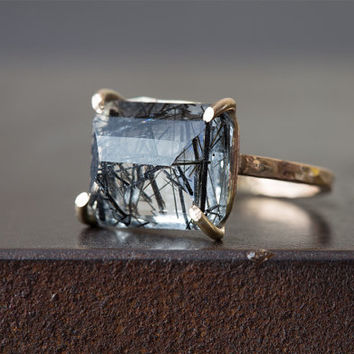 Emerald-Cut Tourmaline in Quartz Ring