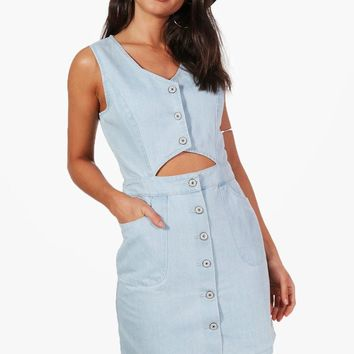 Mia Button Cut Out Denim Dress | Boohoo